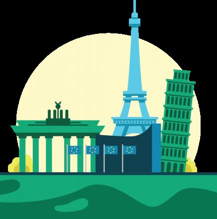 icon of European landmarks