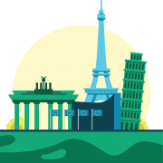 icon of European landmarks